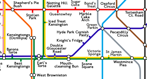 A tube map of baking puns. You will groan.