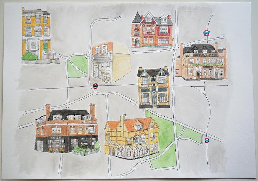Hand-Drawn Map: Pubs Of Ealing