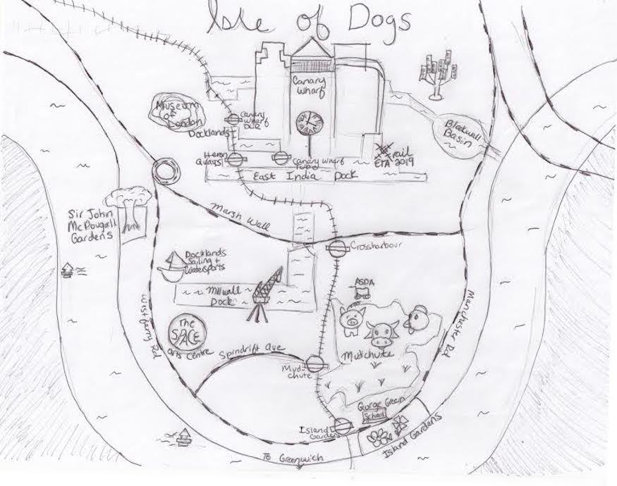 A Hand-Drawn Map Of The Isle Of Dogs