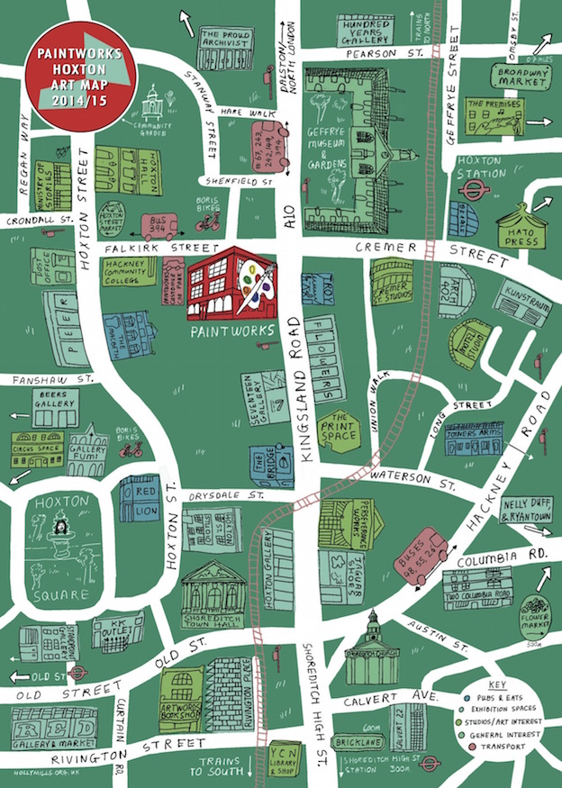 Hand-Drawn London: Art Map Of Hoxton