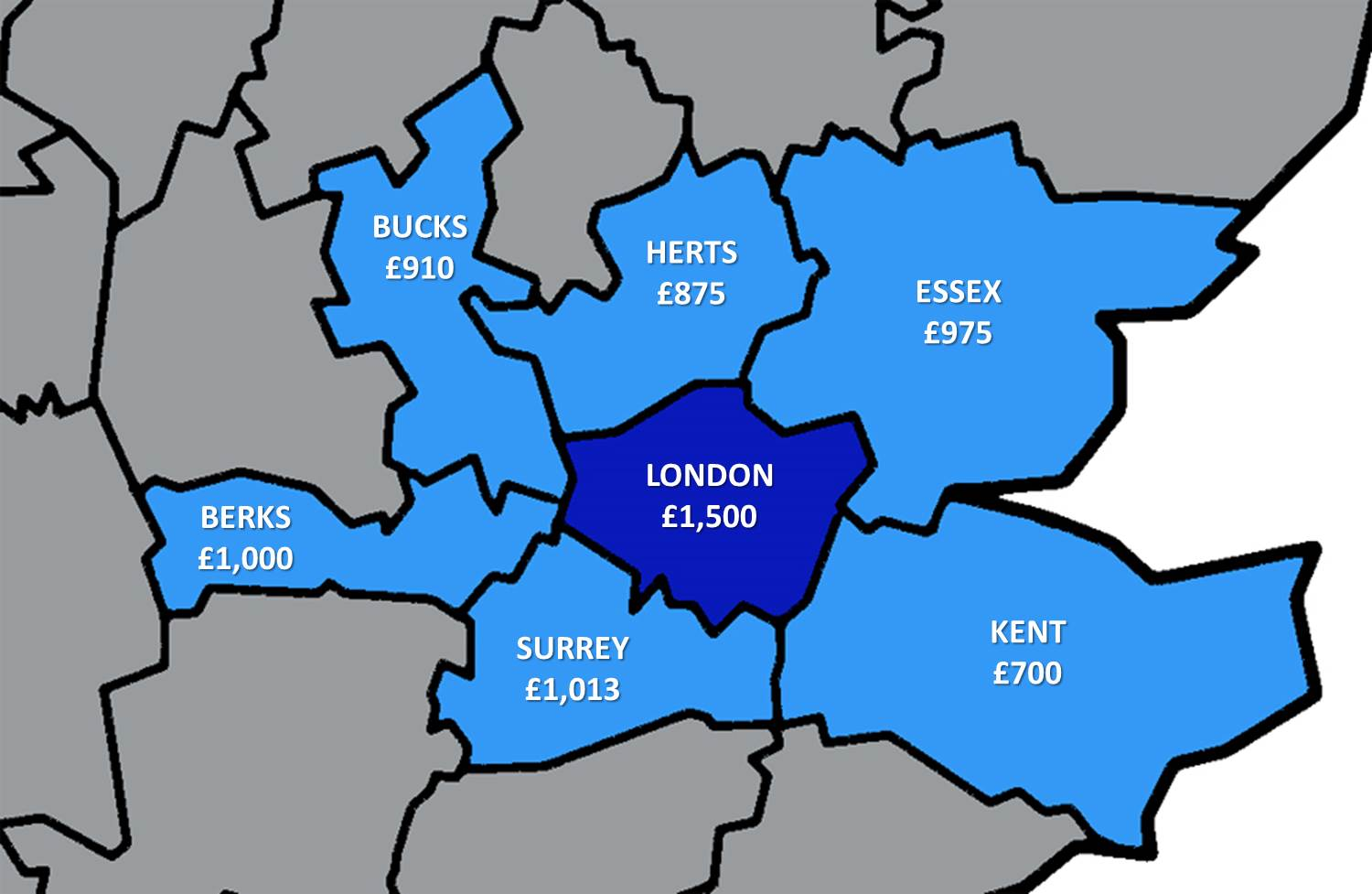 Map Around London.How Much Does It Cost To Rent Outside London Londonist