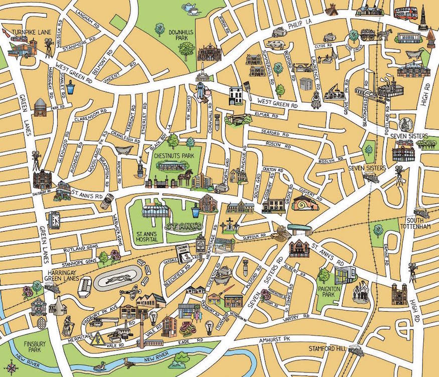 East And North London Brought To Life In HandDrawn Maps Londonist - Map of north london areas