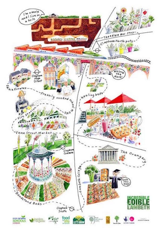 Hand-Drawn London Maps: Edible Clapham