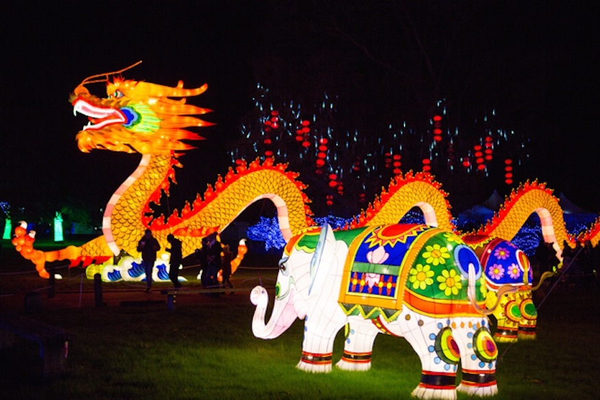 See Chinese Lanterns Shaped Like A Huge Dragon And A Life-Size London Bus