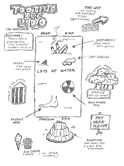 An Inaccurate Hand-Drawn Map Of Tooting Bec Lido