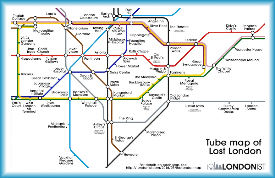 A tube map showing vanished buildings and features.