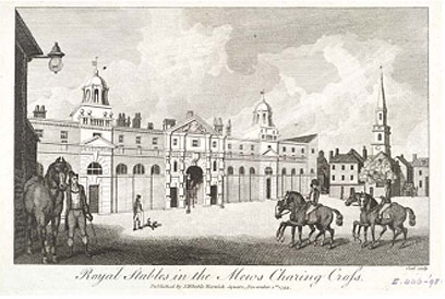 Royal mews on what is today Trafalgar Square.
