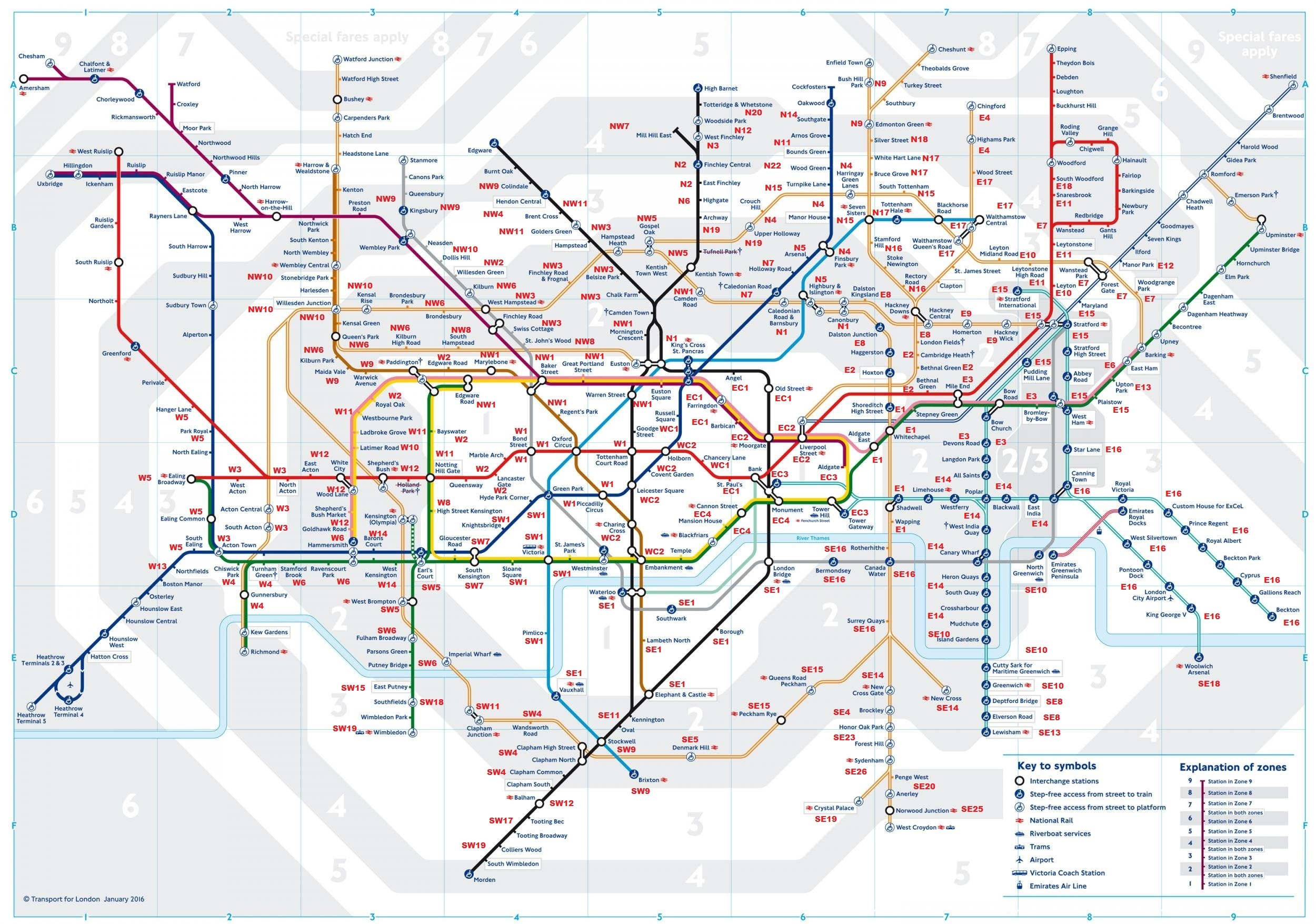 London Tube Map 2018 January Calendar