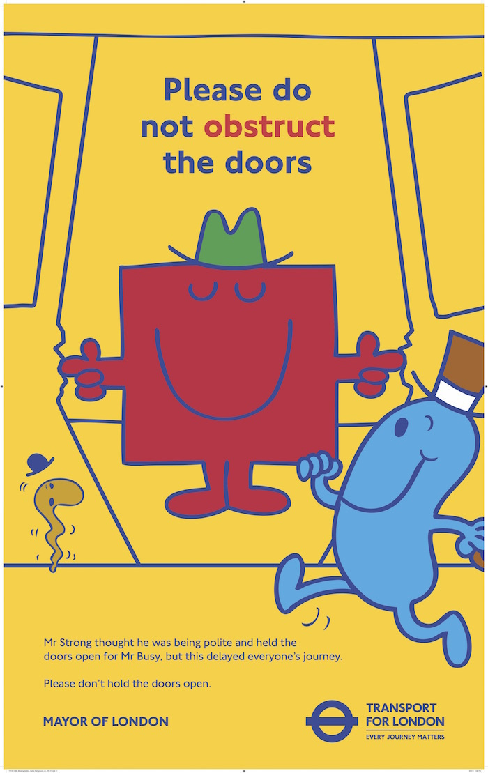 TfL enlists help of Mr Men for travel etiquette posters:
