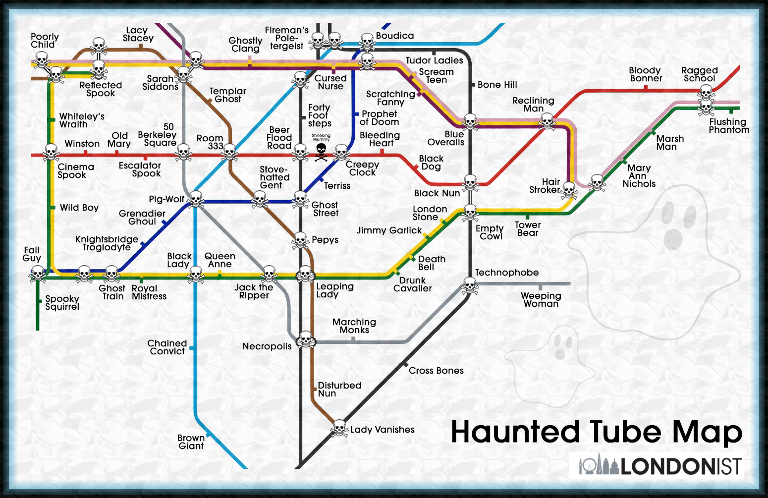 How To Outline Story Like Subway Map.The Haunted Tube Map Londonist