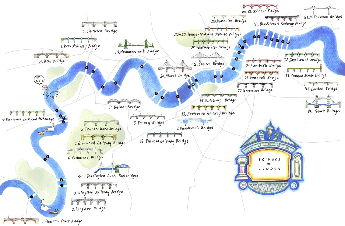 Map London Bridge.An Illustrated Map Of Bridges On The Thames Londonist