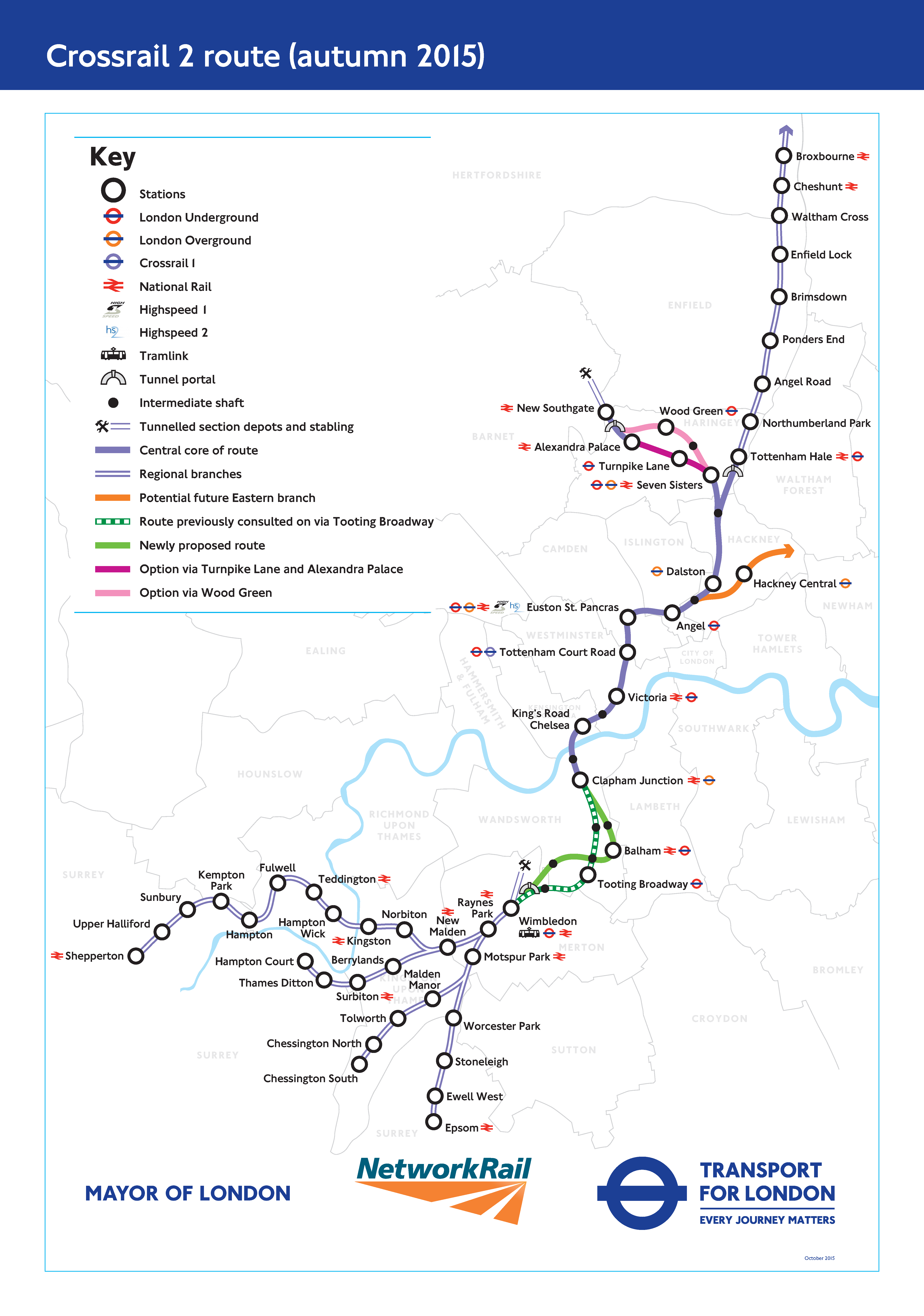 Map Of London North South East West.Crossrail 2 What Is It When Will It Launch And What S Its Route