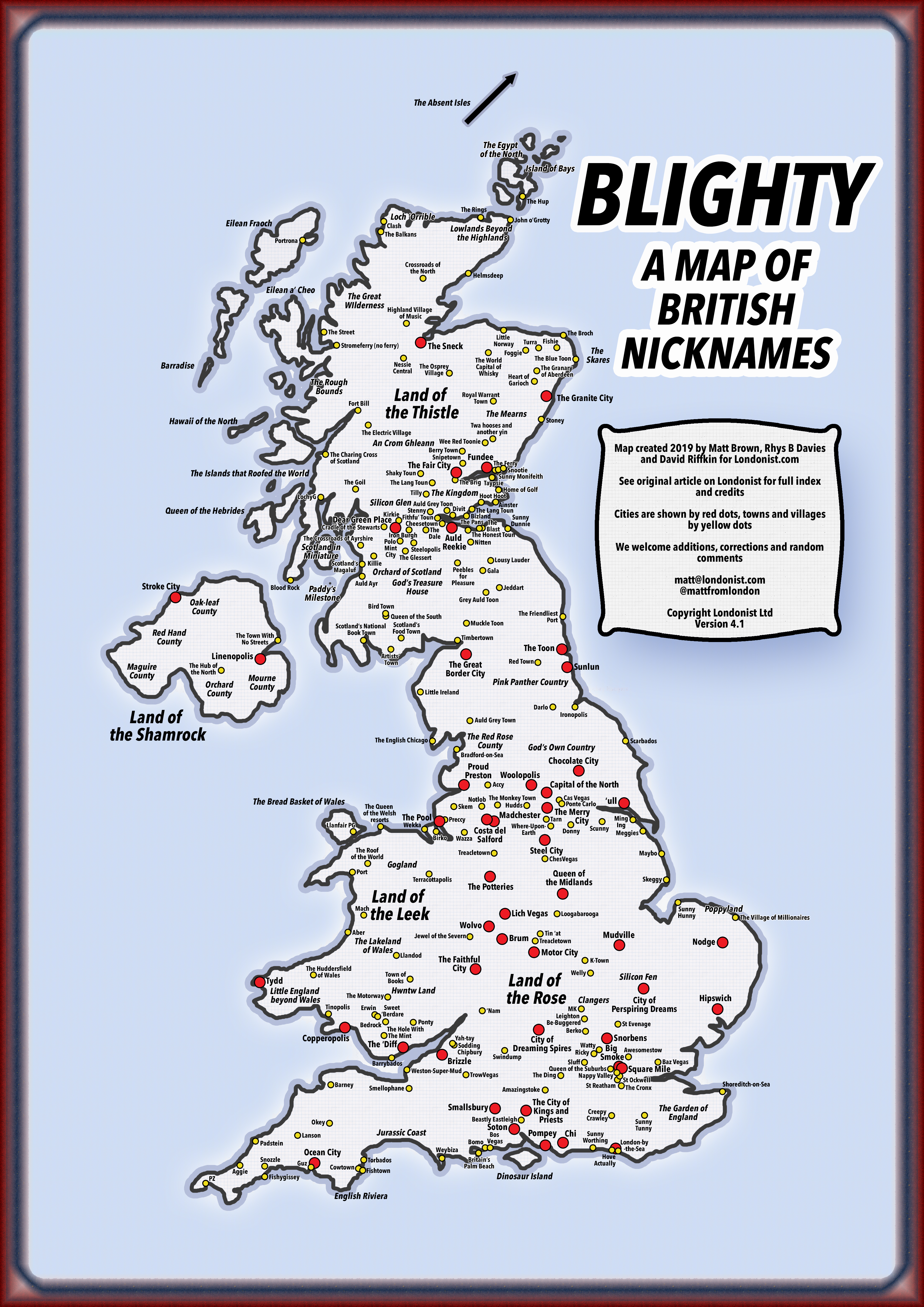 Map Of England With Towns Cities And Villages.Blighty A Map Of Nicknames For British Cities And Towns Londonist
