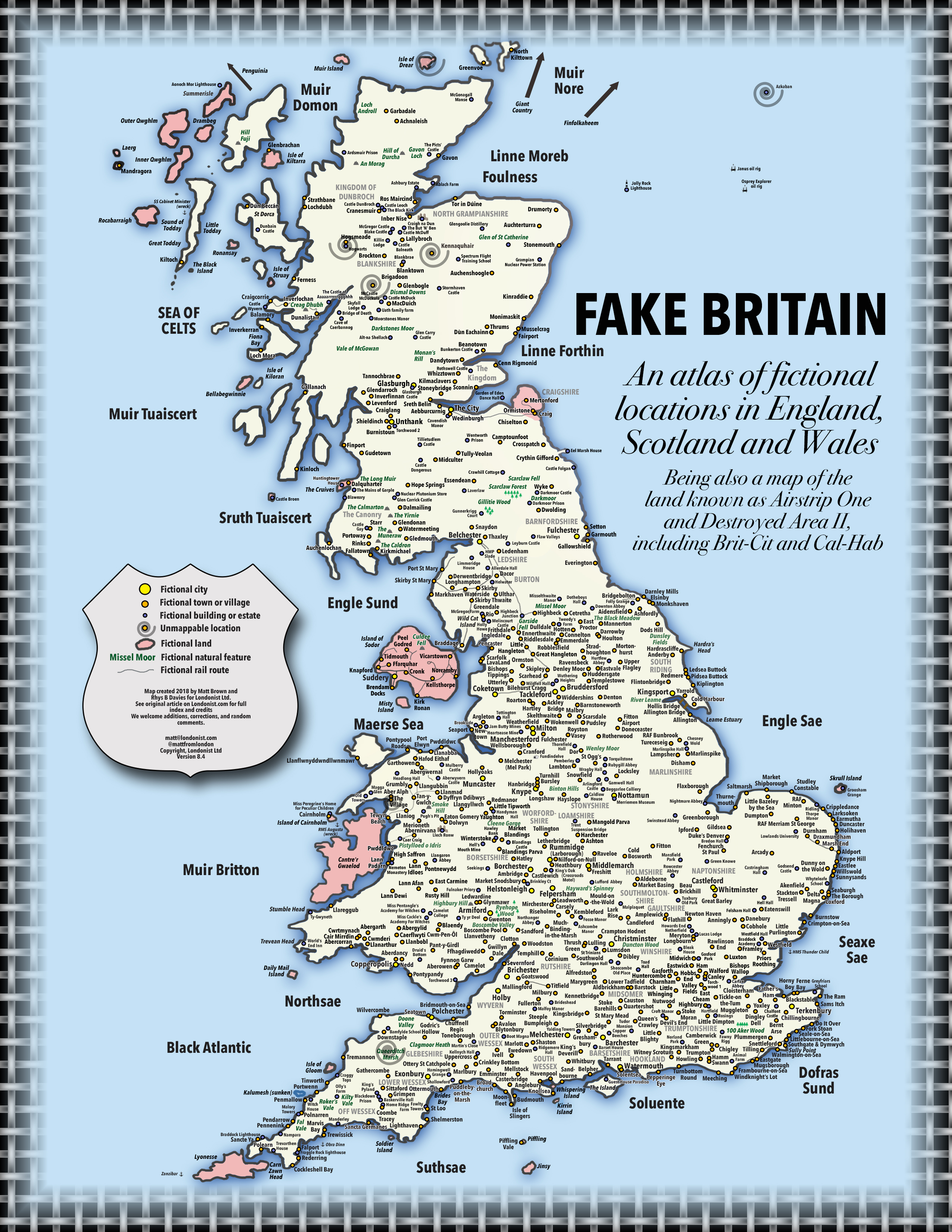 Map Of England And Wales With Cities.Fake Britain A Map Of Fictional Locations In England Scotland And
