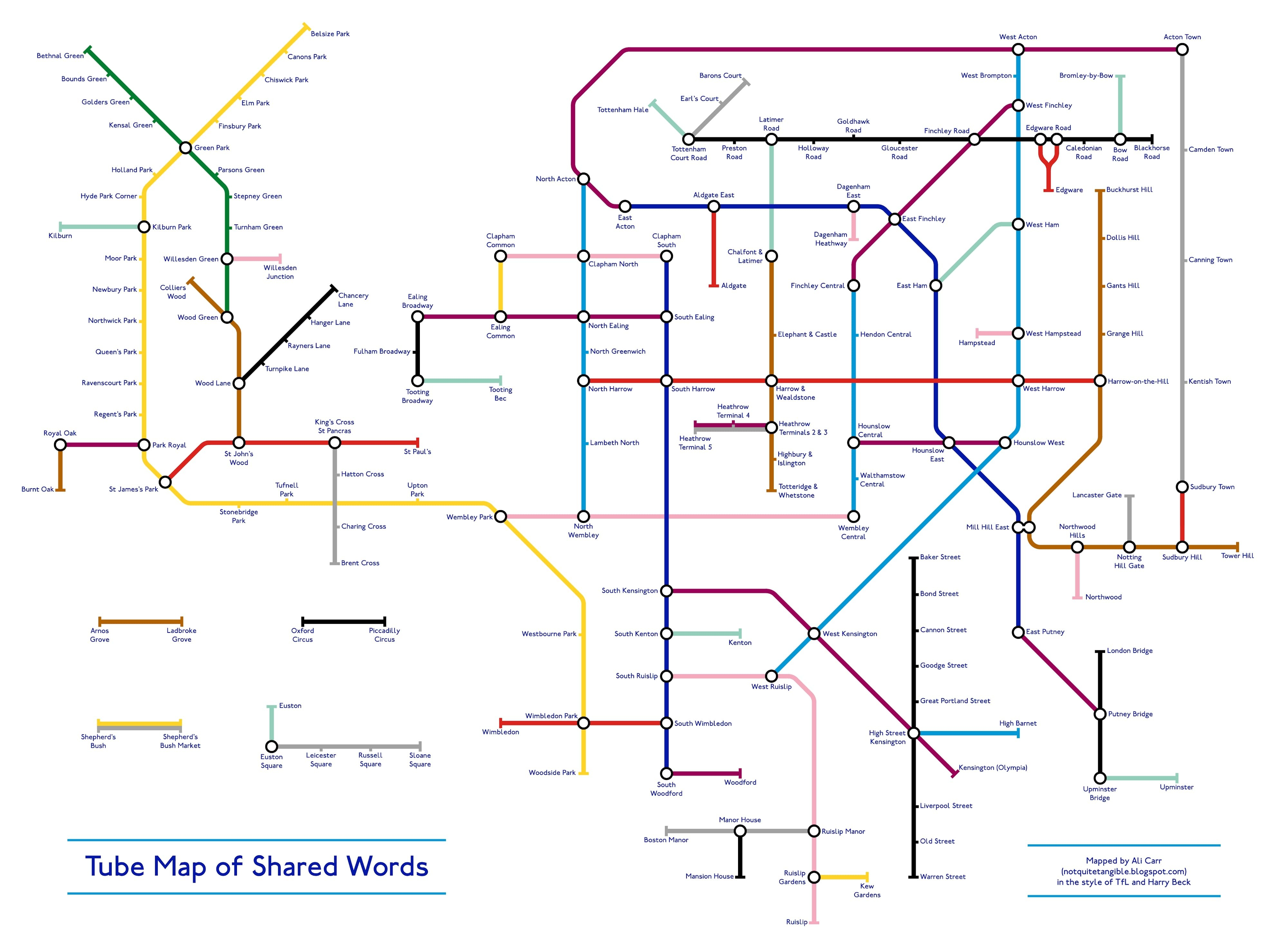 London Subway Map Russell Station.This Tube Map Arranges Stations By Shared Words And It S Pretty