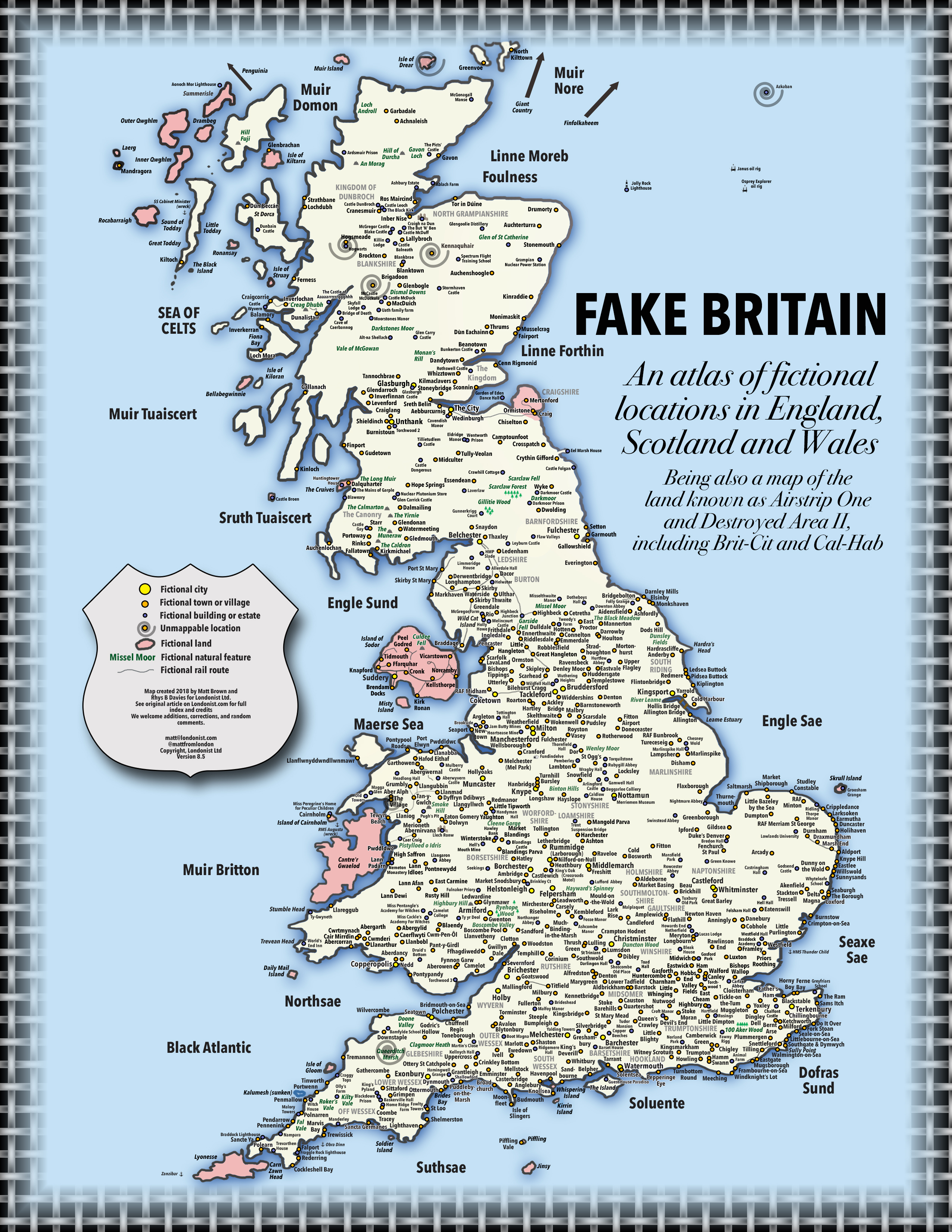 Map Of England Scotland.Fake Britain A Map Of Fictional Locations In England Scotland And
