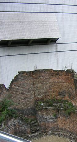 Window overlooking remains of the Roman city wall