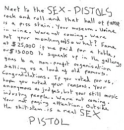 Sex Pistols note