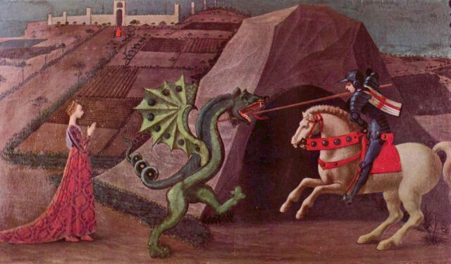 St George slaying a rather small dragon