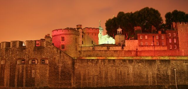 The Tower of London in red