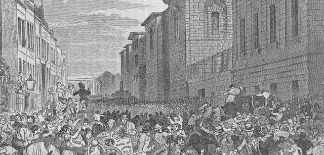 Crowds outside Newgate Prison