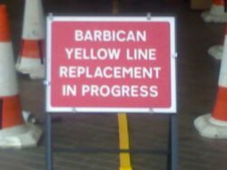 Barbican yellow line replacement in progress