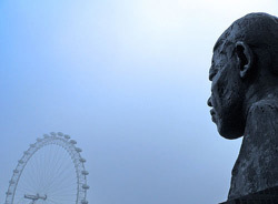 Nelson Mandela statue and the London Eye