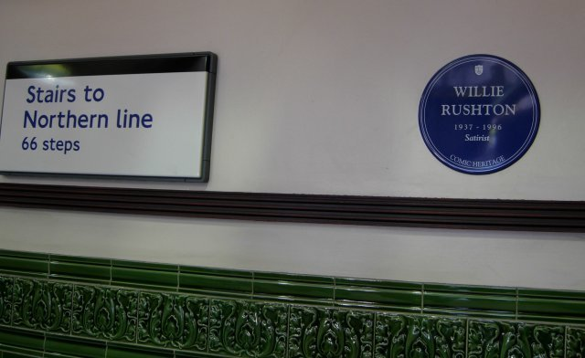 Willie Rushton's blue plaque at Mornington Crescent station