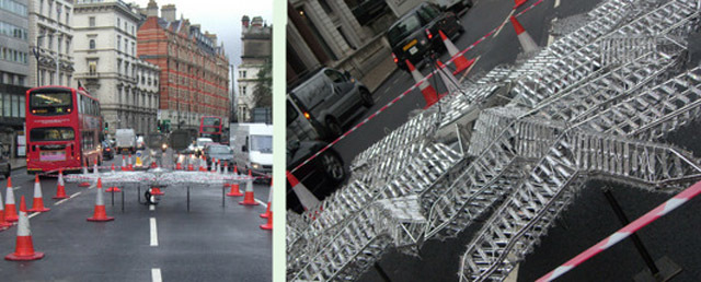 Knightsbridge Traffic Disrupted By Giant Snowflake