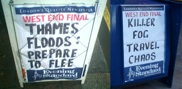 Evening Standard hysterical weather headlines