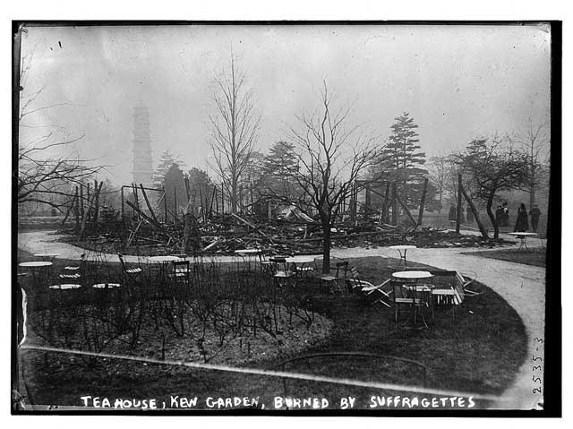 Suffragettes destroy the Tea House, Kew Gardens, 1913.
