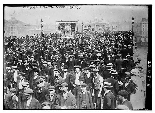 Dock strikers march over London Bridge, 1911.