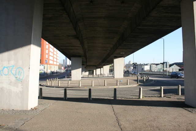 why interrupt the towpath, and build this so that people have to walk through this underpass?  ugh.