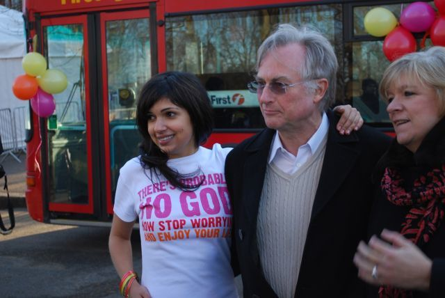 Ariane Sherine, Prof. Richard Dawkins and Polly Toynbee at the bus launch © Jon Worth / British Humanist Association