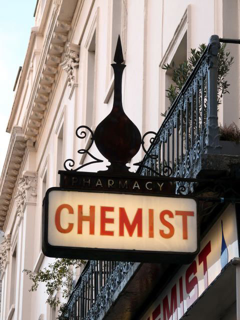 Chemist sign, Lower Belgrave Street, SW1