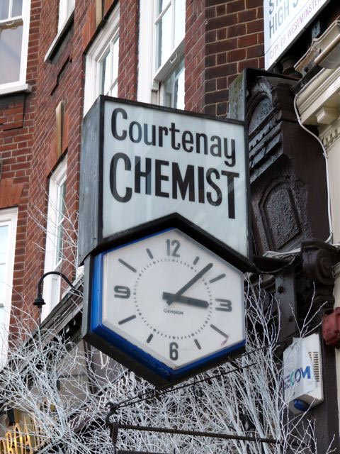 Courtenay Chemist Clock, St Johns Wood High Street, NW8