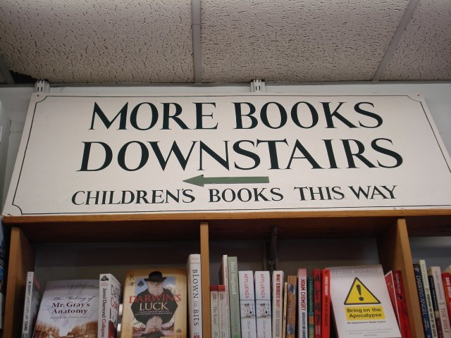 Second hand books downstairs...
