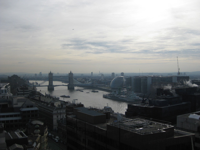 The view towards the Pool of London. Image by M@.