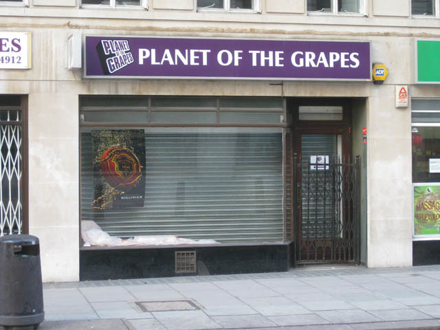 Planet of the Grapes, New Oxford Street. Puns, wine and allusion to science fiction. May be popular with students.