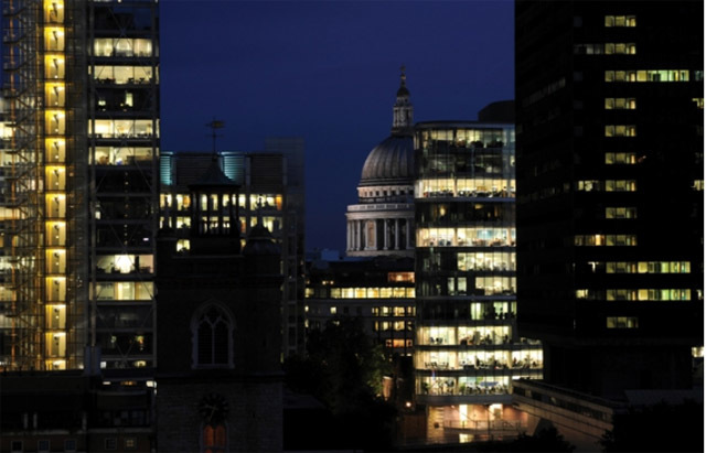 The view from Frobisher Crescent at night. Image from United House Developments .