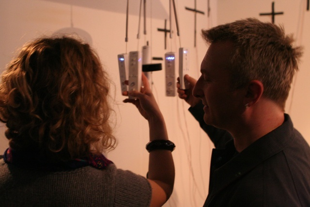Another favourite theme of the artists was over-engineering, as in Artemis Papageorgiou's elaborate hack job on a collection of Wii remotes to create a fully digital set of windchimes.
