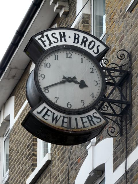 Fish Brothers Jewellers had shops all over east London and Essex. This clock is in High Road Leytonstone, E11.