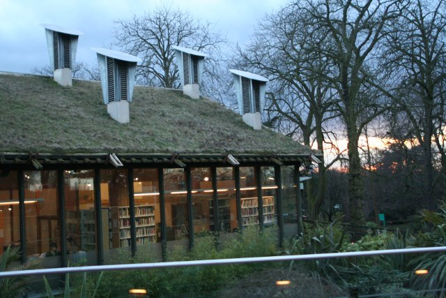 The library is now housed in the CUE building, a low-energy oddity with a live grass roof.