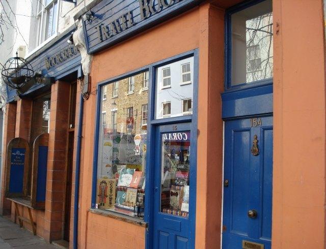 The very blue and orange Travel Bookshop