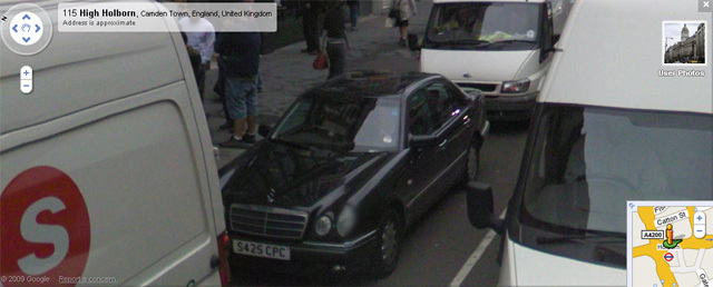 Privacy invasion. We found many examples of clear number plates. The driver of S425 CPC, for example, was heading westbound on Holborn at around 3.50 (from nearby clock) on 21 July 2008 (from nearby news headline).