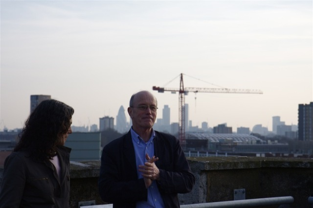 Iain Sinclair with sound installation artist and musician Susan Stenger on the top of St Augustine's Tower Image / WowtheWorld