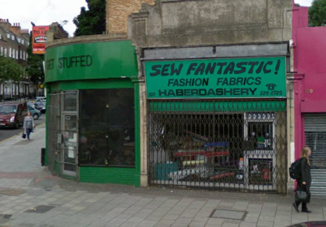 A pun enclave on Essex Road. Get Stuffed is, you guessed it, a taxidermist while Sew Fantastic speaks for itself.