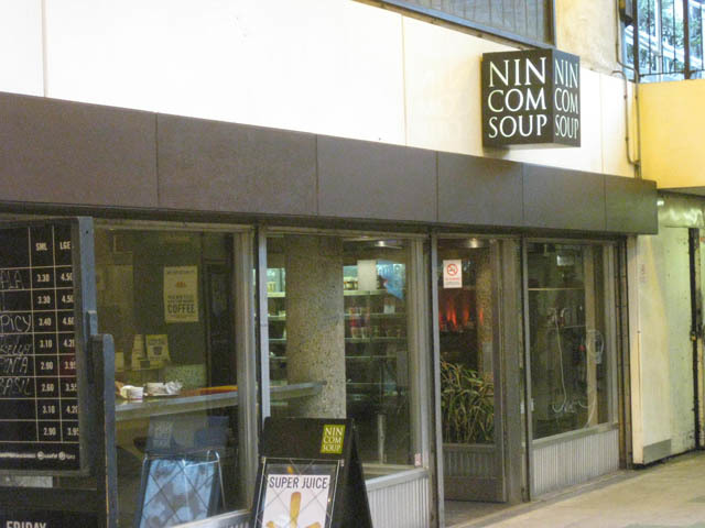 The familiar Nin Com Soup inside Old Street Tube station.