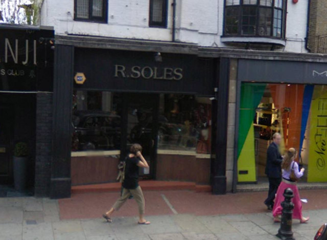 R. Soles, the Kings Road shoe shop, sticks its tongue out at more staid outlets.