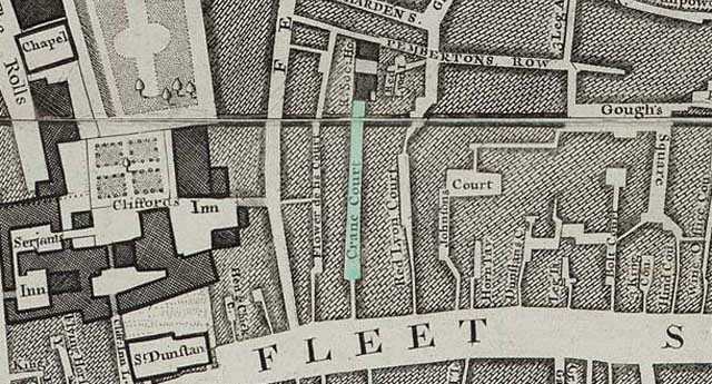 The Rocque map of 1746 labels the Royal Society buildings.